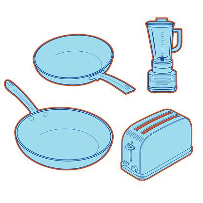 Vector illustration of  kitchen appliance.frying pan,blender,toaster