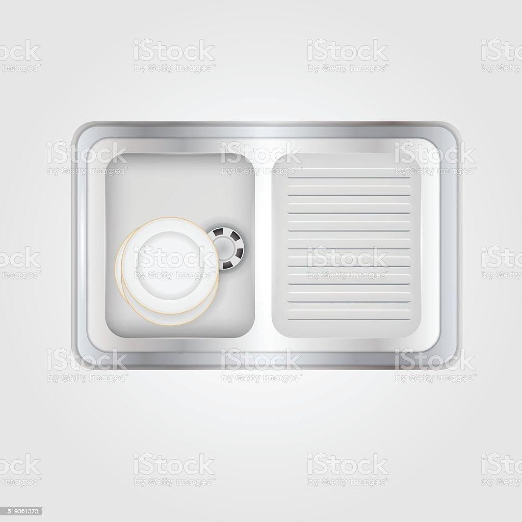Vector illustration of kitchen sink vector art illustration
