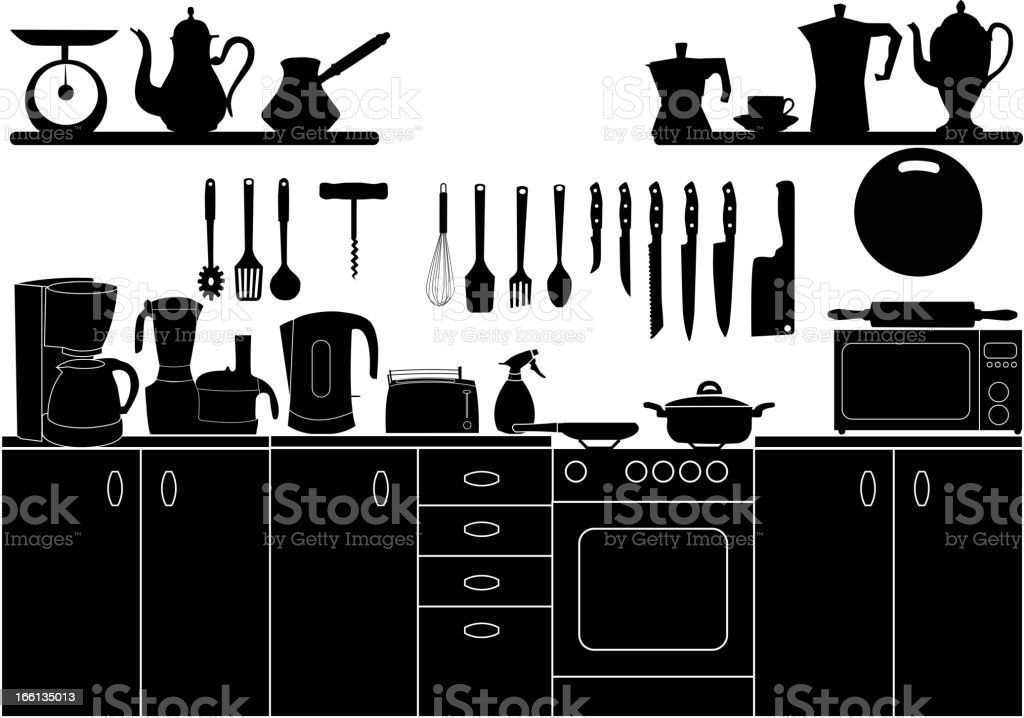 Vector illustration of kitchen tools for cooking in black royalty-free stock vector art