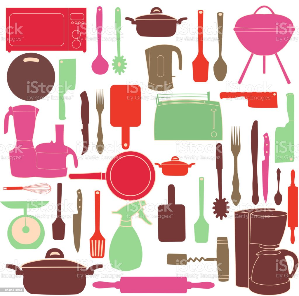 vector illustration of kitchen tools for cooking royalty-free stock vector art