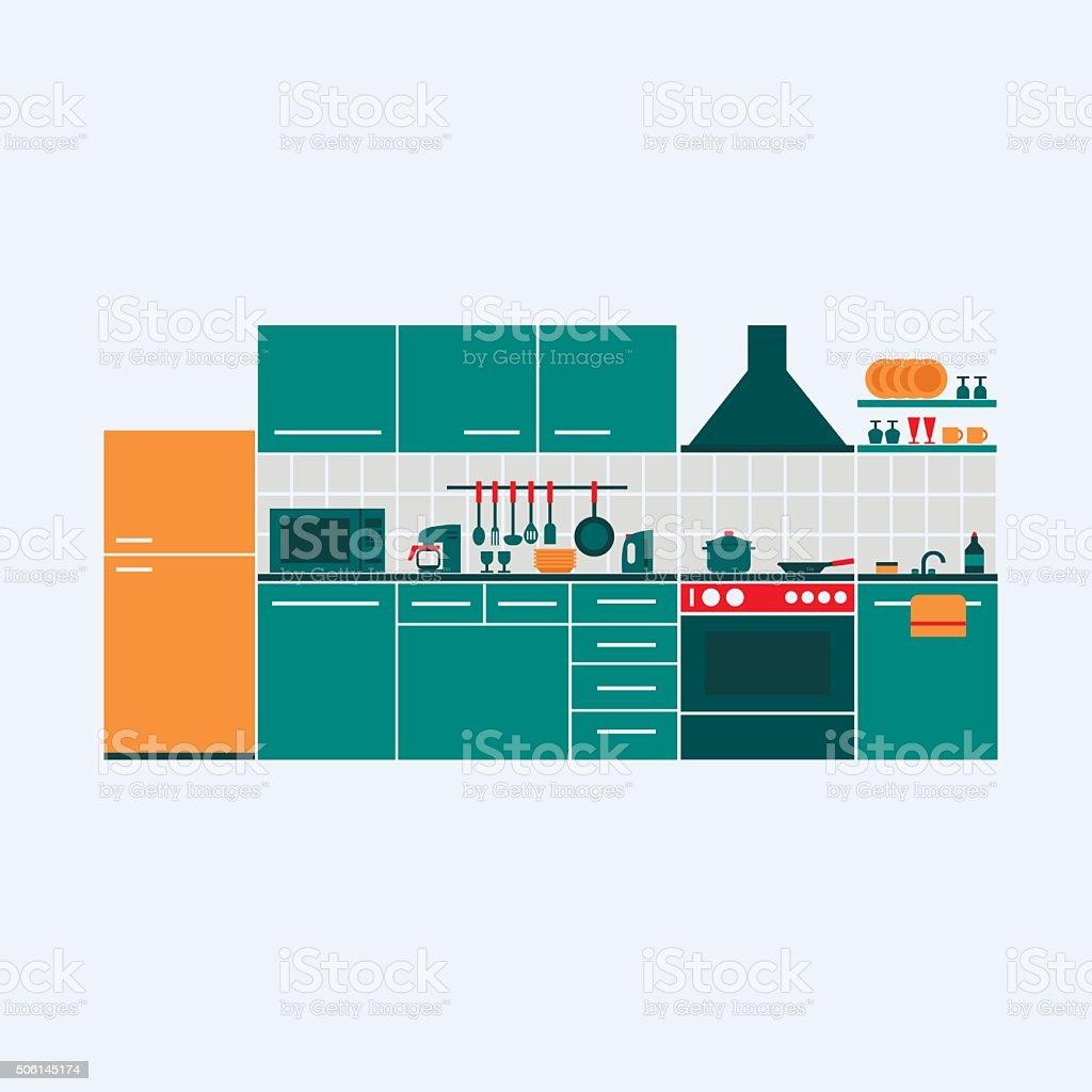 Vector illustration of kitchen vector art illustration