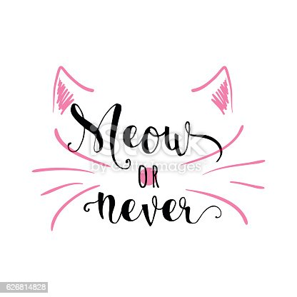 istock Vector illustration of kitten calligraphy sign for print 626814828