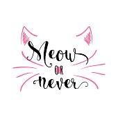 Vector illustration of kitten calligraphy sign for print