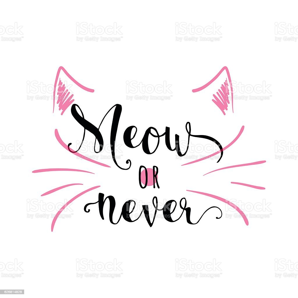 Vector illustration of kitten calligraphy sign for print vector art illustration