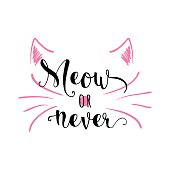 Vector illustration of kitten calligraphy sign for print
