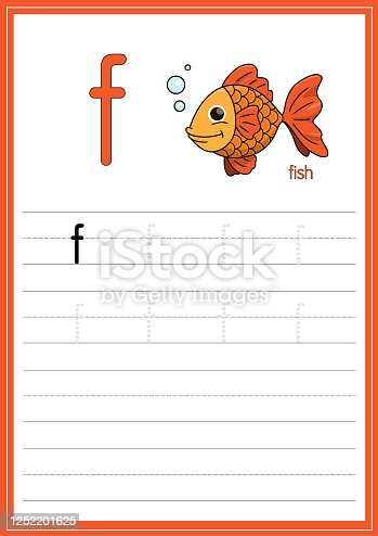 istock Vector illustration of Koi Fish isolated on a white background. With the lower case letter f for use as a teaching and learning media for children to recognize English letters Or for children to learn to write letters Used to learn at home and school. 1252201625