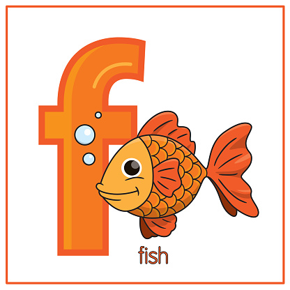 Vector illustration of Koi Fish isolated on a white background. With the capital letter F for use as a teaching and learning media for children to recognize English letters Or for children to learn to write letters Used to learn at home and school.