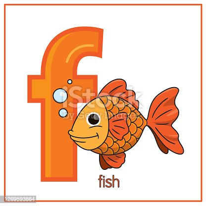 istock Vector illustration of Koi Fish isolated on a white background. With the capital letter F for use as a teaching and learning media for children to recognize English letters Or for children to learn to write letters Used to learn at home and school. 1269593864