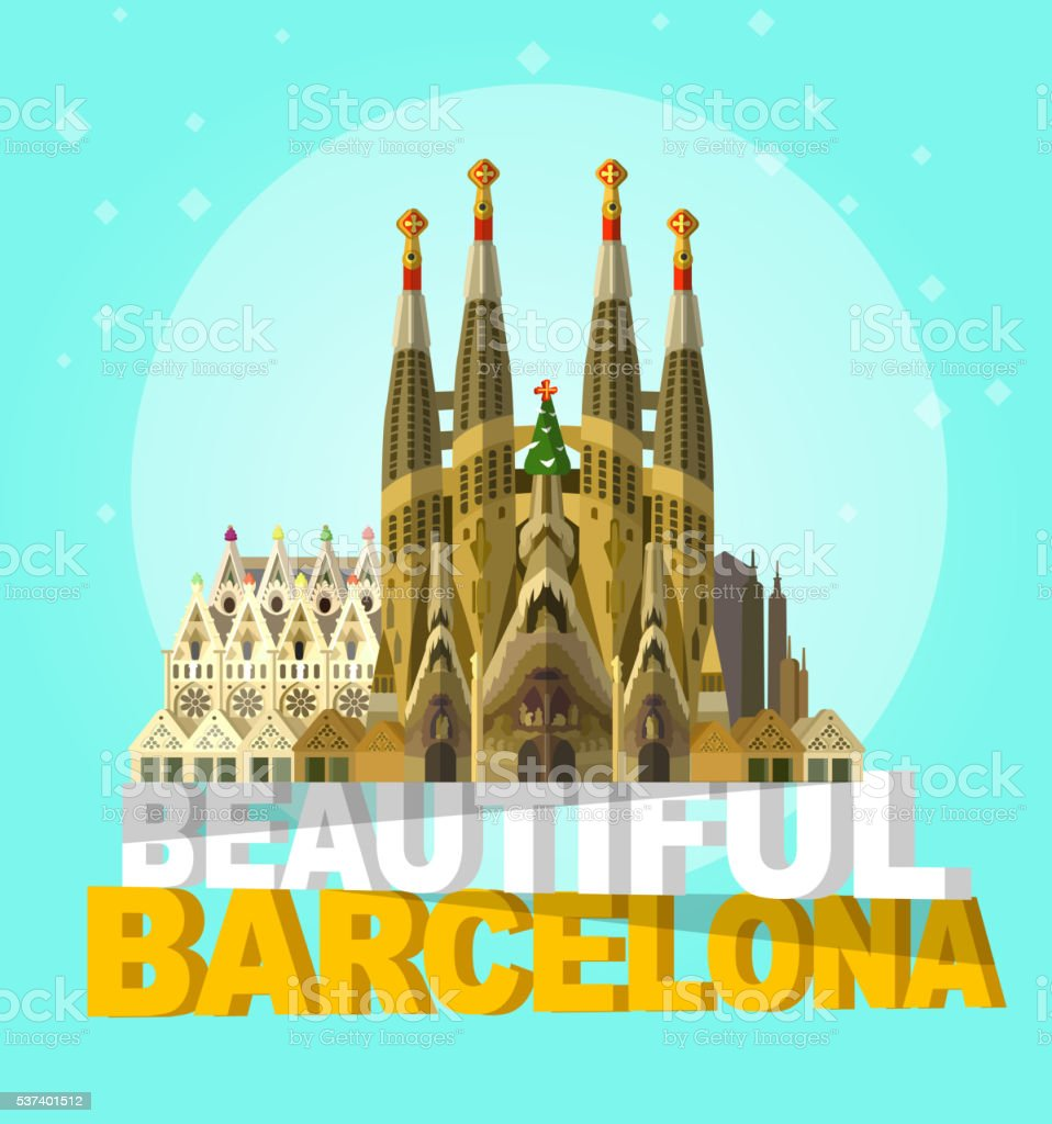 vector illustration of La Sagrada Familia - the impressive cathedral vector art illustration