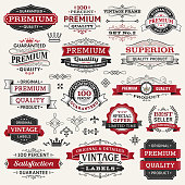 "Seventeen labels are shown in this image.  There are several frames and banners also shown.  Some of these frames are stand-alone.  All labels are drawn in black and red.  The background of the image is white.  Text in the banners and labels include the phrases, ""Guaranteed Premium Quality"" and ""100% Satisfaction Guaranteed.""  Some text also includes the phrases ""Vintage Label"" and ""Special Offer.""  All of the text is written in capital letters.  The design elements include crowns drawn in black, lines that swirl and connect and straight lines with a vintage diamond design."