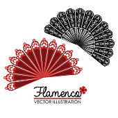 A vector illustration of lacy red and black flamenco fans