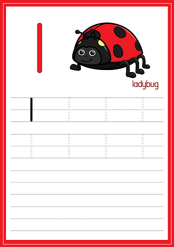 Vector illustration of Ladybug isolated on a white background. With the lower case letter L for use as a teaching and learning media for children to recognize English letters Or for children to learn to write letters Used to learn at home and school.