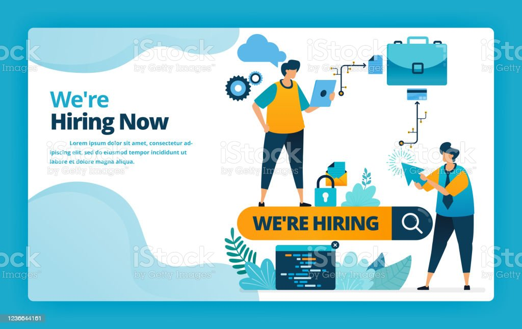 Vector Illustration Of Landing Page Of Hiring The Best Workers And Employees With Job Promotions And Ads In Search Engines Design For Website Web Banner Mobile Apps Poster Brochure Template Stock Illustration