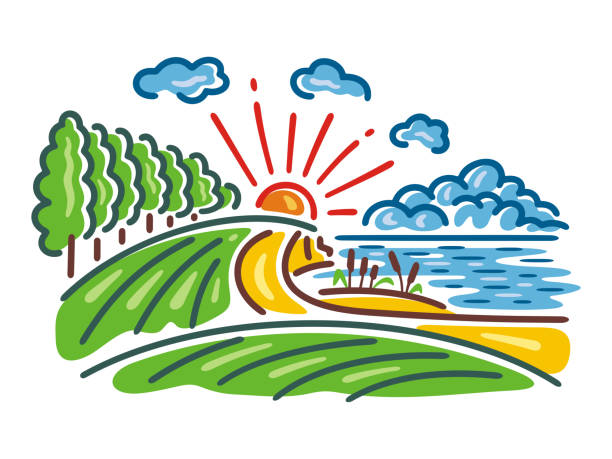 Vector illustration of landscape of lake, forest and fields. Bright and colorful background of nature on the lake. Vector illustration of landscape of lake, forest and fields. Bright background of nature on the lake. lakeshore stock illustrations