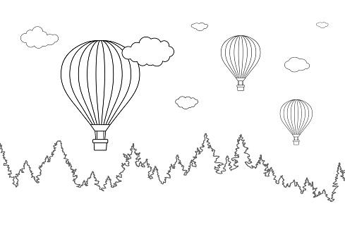 Orman Ve Boyama Sayfasi Icin Sicak Hava Balonlar Ucan Ile Peyzaj