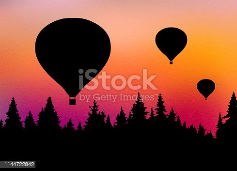 Vector illustration of landscape with forest, flying hot air balloons and orange sky