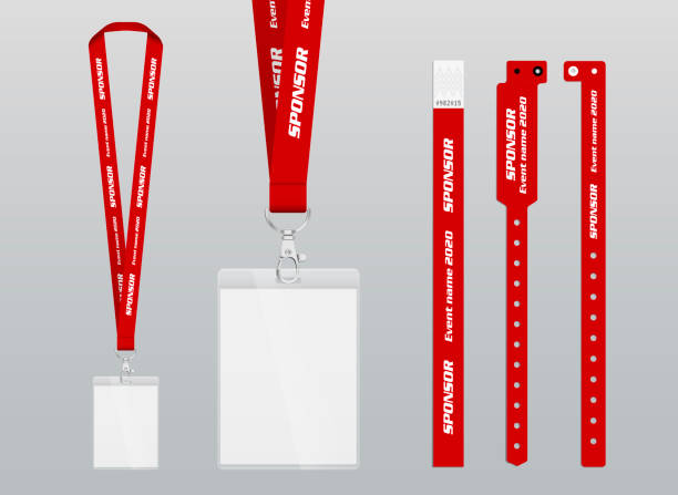 vector illustration of lanyard and bracelets for identification and access to events. security and control elements. - tickets and vouchers templates stock illustrations