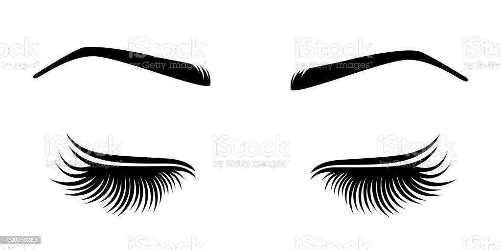 Vektor-Illustration von Wimpern und Augenbrauen. – Vektorgrafik