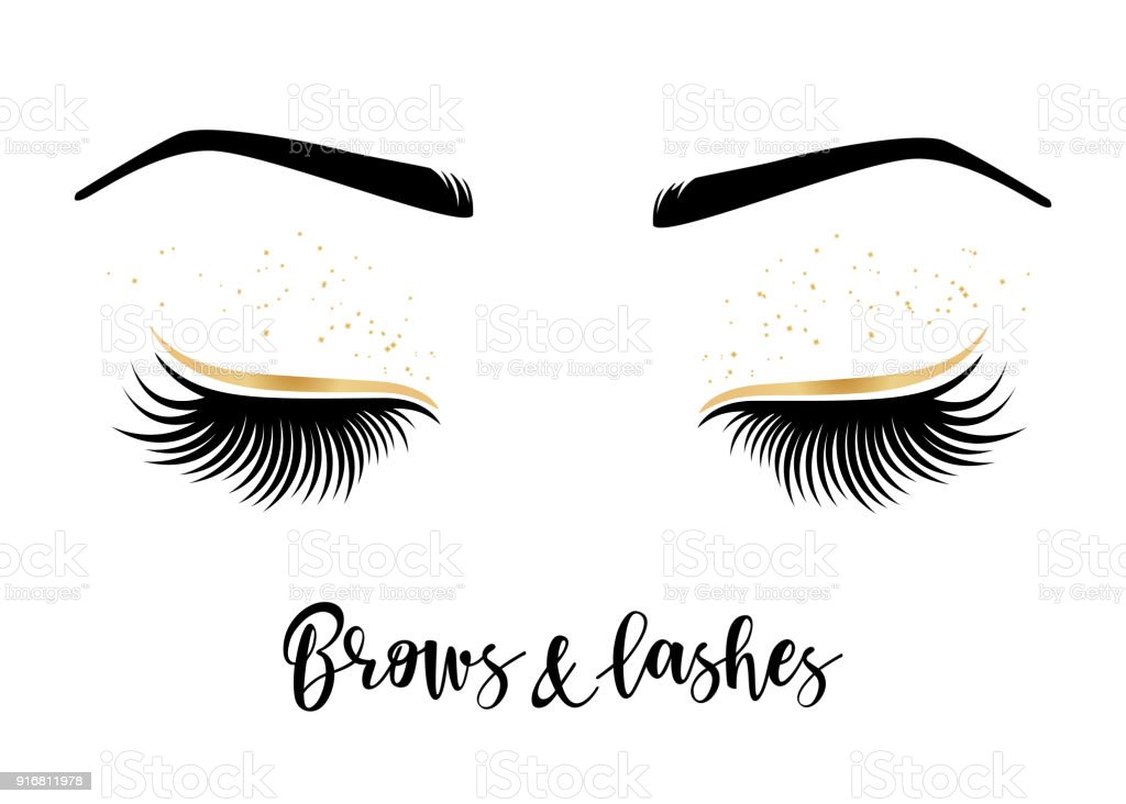 vector illustration of lashes and brows stock vector art more