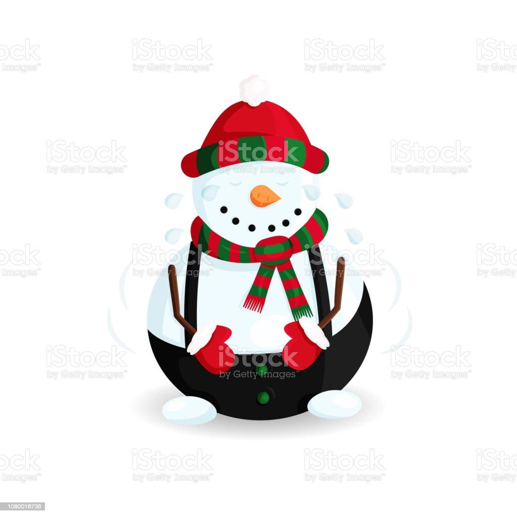 Ilustración de vector de muñeco de nieve sombrero de rayas y pañuelo de lágrimas de risa - ilustración de arte vectorial