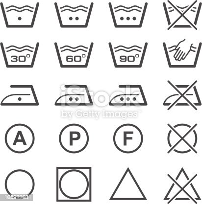 Set of washing and iron signs