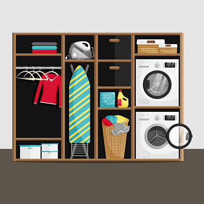 Vector Illustration of Laundry Room in Flat Style