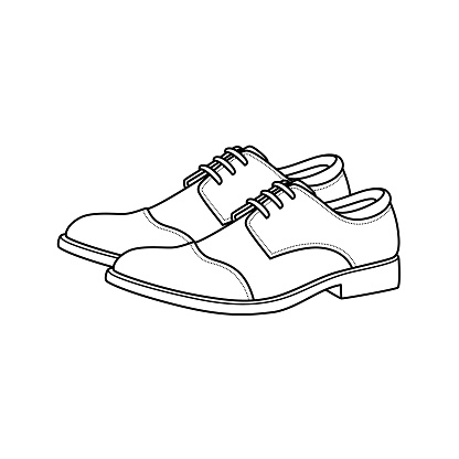 Vector illustration of leather shoes isolated on white background. Clothing costumes and accessories concept. Cartoon characters. Education and school kids coloring page, printable, activity, worksheet, flashcard.