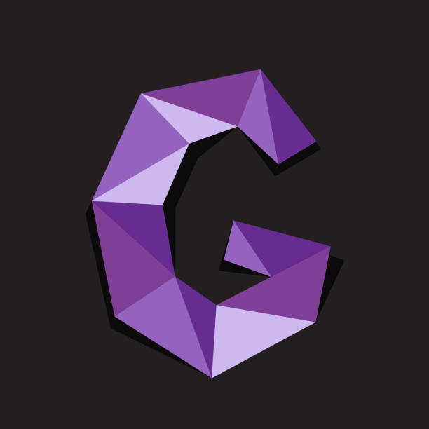 Vector illustration of letter G. Polygonal Colorful Letter vector art illustration