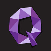 Vector illustration of letter Q in origami style. Polygonal Colorful Letter isolated on black background.