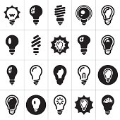 Vector illustration of light bulb icons
