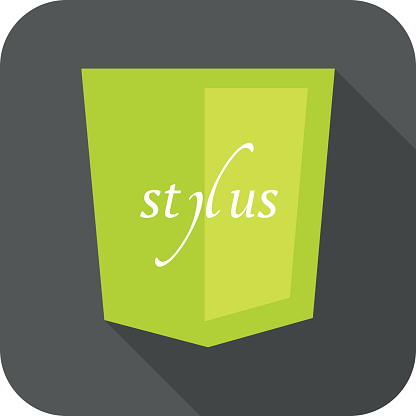vector illustration of light green shield with css stylus, isolated