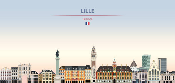 vector illustration of lille city skyline on colorful gradient beautiful daytime background - колокольня stock illustrations