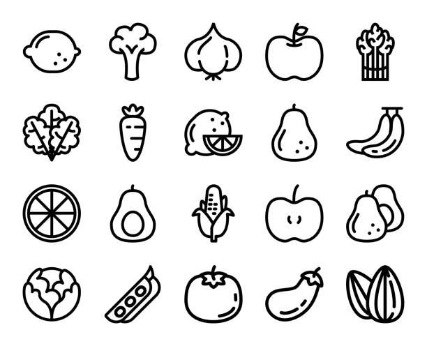 果物や野菜の線のアイコンのベクトル イラスト セット - 枝豆点のイラスト素材/クリップアート素材/マンガ素材/アイコン素材