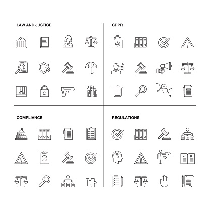 Vector illustration of line icons for GDPR, Compliance, Regulations, Law and Justice. Outline Symbol Collection