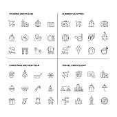 Vector illustration of line icons for Tourism, Travel, Summer, Vacation, Christmas, New Year. Outline Symbol Collection