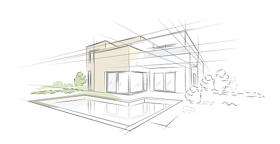 Vector illustration of linear project architectural sketch detached house clipart