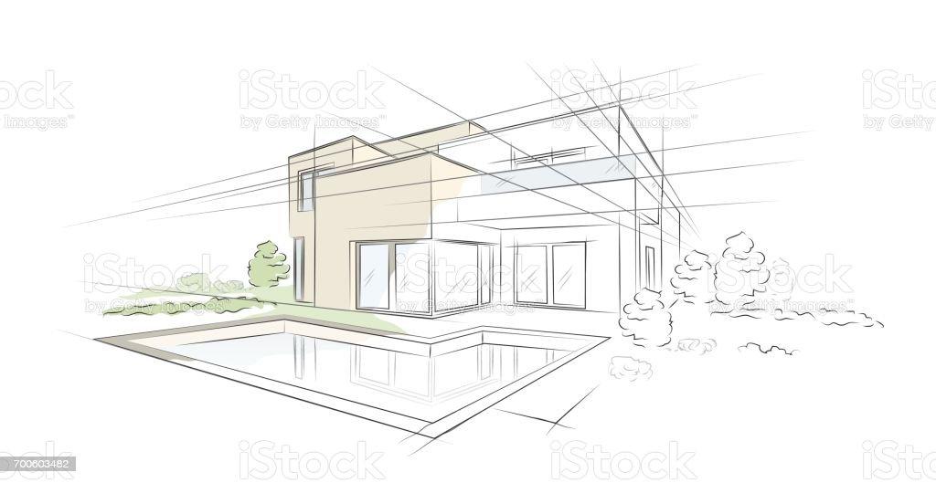 Illustration vectorielle de croquis architecturaux linéaires projet Maison individuelle - Illustration vectorielle