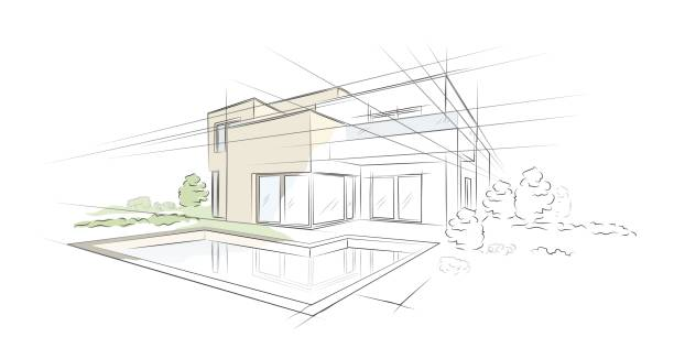 Bекторная иллюстрация Vector illustration of linear project architectural sketch detached house