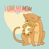 Vector illustration of lioness with lion cub. Card with a lioness mother holding a lionet in the mouth