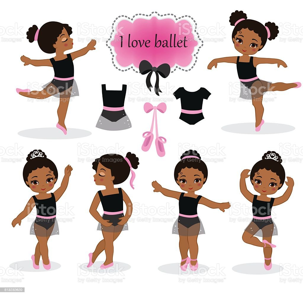 Vector illustration of little ballerinas and other related items. vector art illustration
