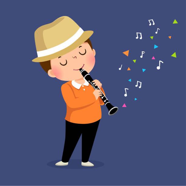 stockillustraties, clipart, cartoons en iconen met vector illustratie van kleine jongen het spelen van de klarinet op blauwe achtergrond. - klarinet