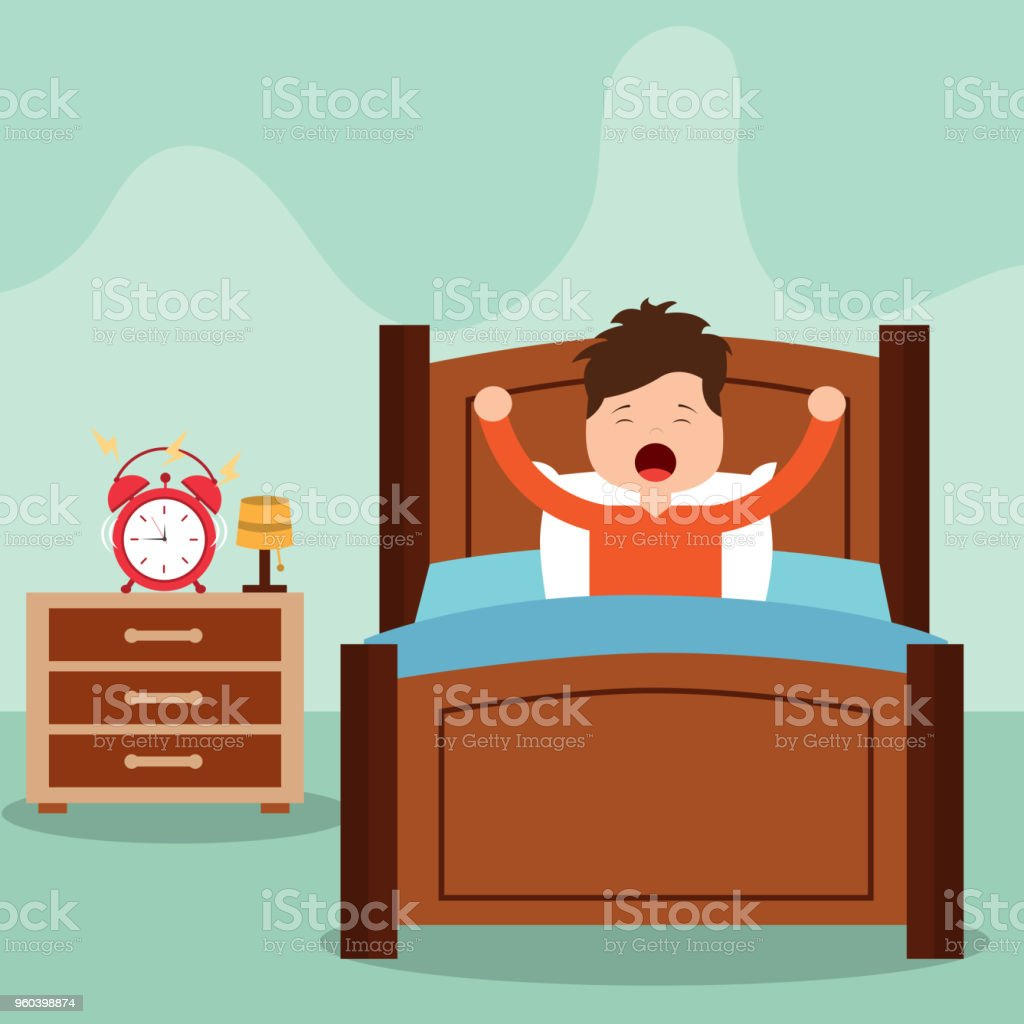 Vector illustration of Little boy waking up in a bed on white background vector art illustration