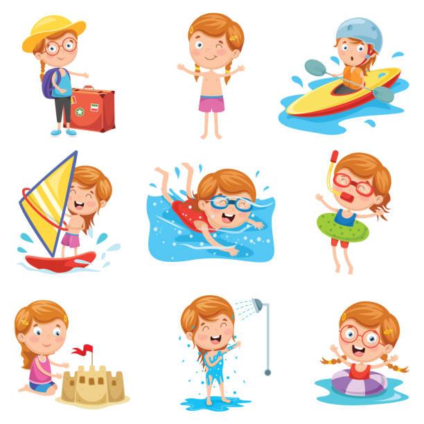 illustrazioni stock, clip art, cartoni animati e icone di tendenza di vector illustration of little girl on summer holiday - nuoto mare