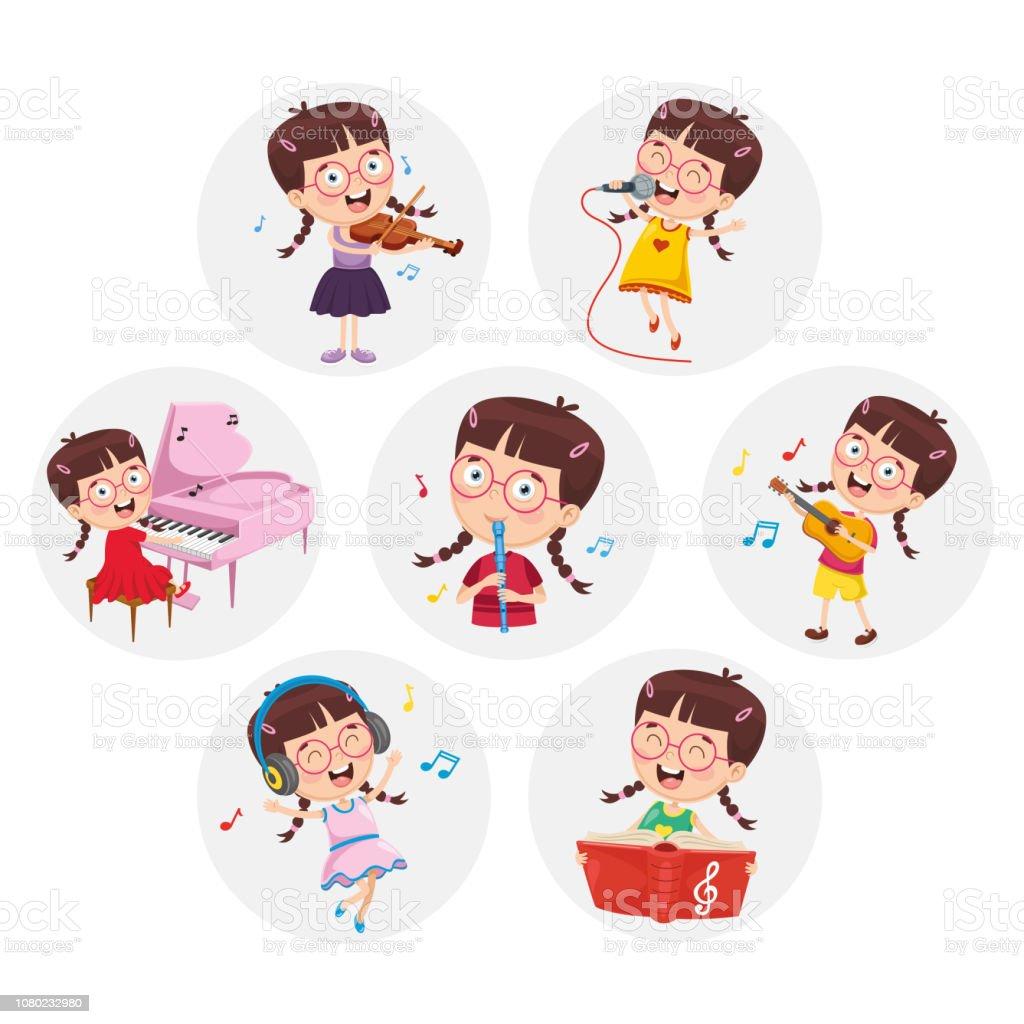 Vector Illustration Of Little Girl Performing Art vector art illustration
