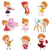 Vector Illustration Of Little Girl Performing Art