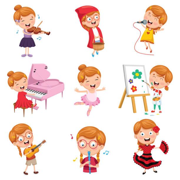 ilustraciones, imágenes clip art, dibujos animados e iconos de stock de vector ilustración de niña realizar arte - clase de arte
