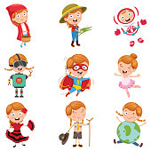 Vector Illustration Of Little Girl Wearing Various Costumes