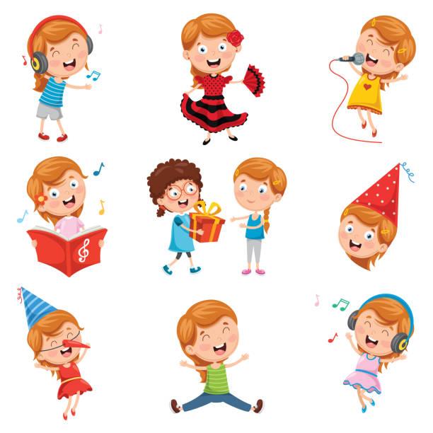 vektor-illustration von kleinen party-girl - geburtstagsgeschenk stock-grafiken, -clipart, -cartoons und -symbole