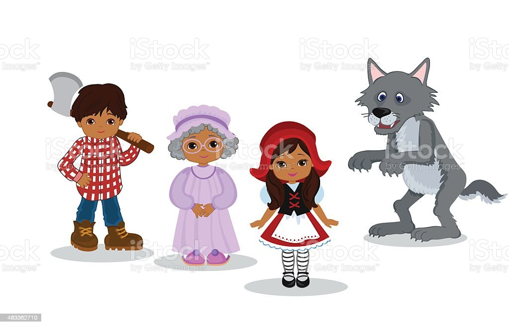 Vector Illustration  of Little Red Riding Hood Fairy Tale Characters vector art illustration