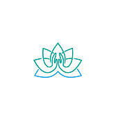 Vector illustration of Logo for a yoga studio. Lotus logo with Namaste. graphic design elements in flat style for spa or yoga center, studio. Healthy body and Soul. - Vector